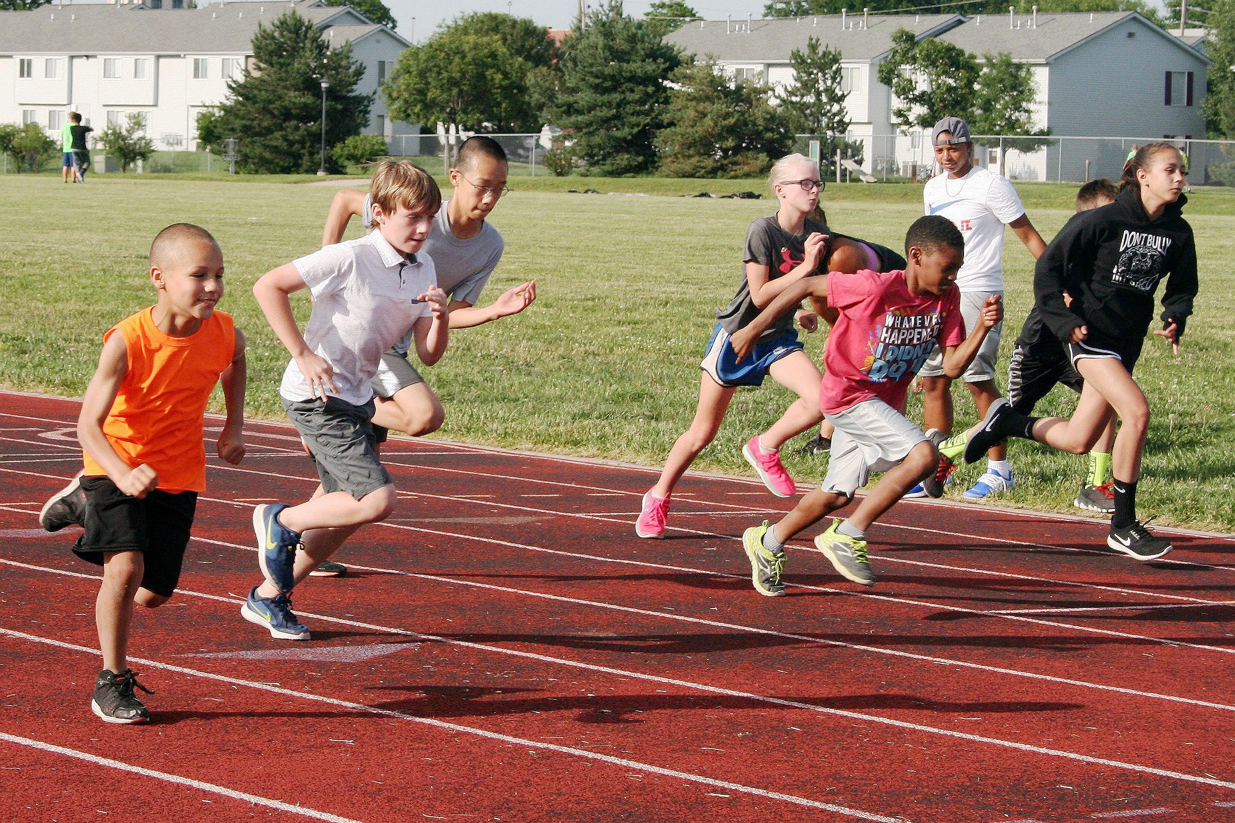 Kids participating in a race