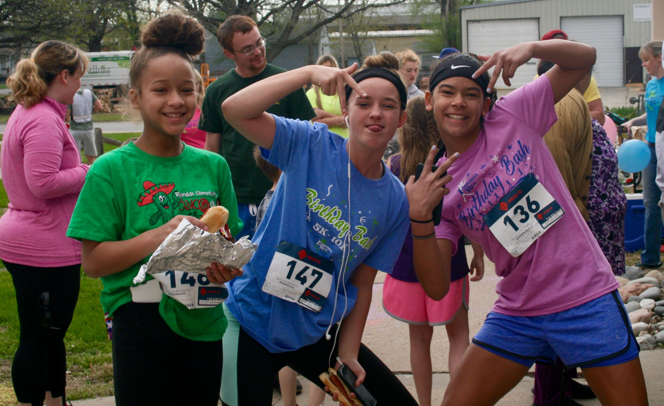 three girls at a 5K race